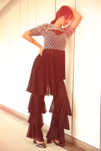 Load image into Gallery viewer, Asymmetric Fringed Top with Three Tiered Pants
