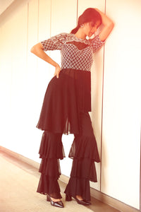 Asymmetric Fringed Top with Three Tiered Pants