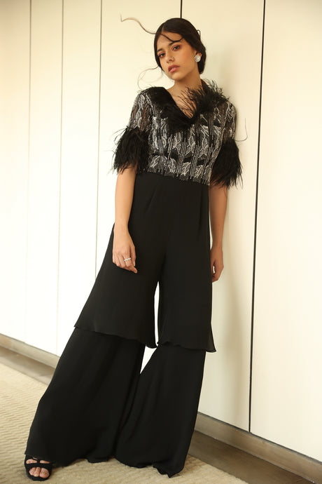 Tiered  feather Jumpsuit