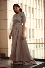 Load image into Gallery viewer, Grey Anarkali with Belt And Sharara