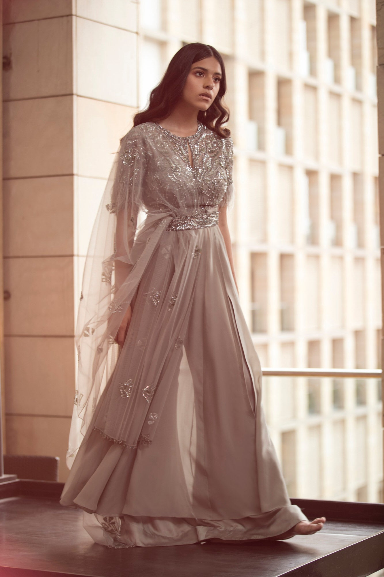 Grey Anarkali with Belt And Sharara