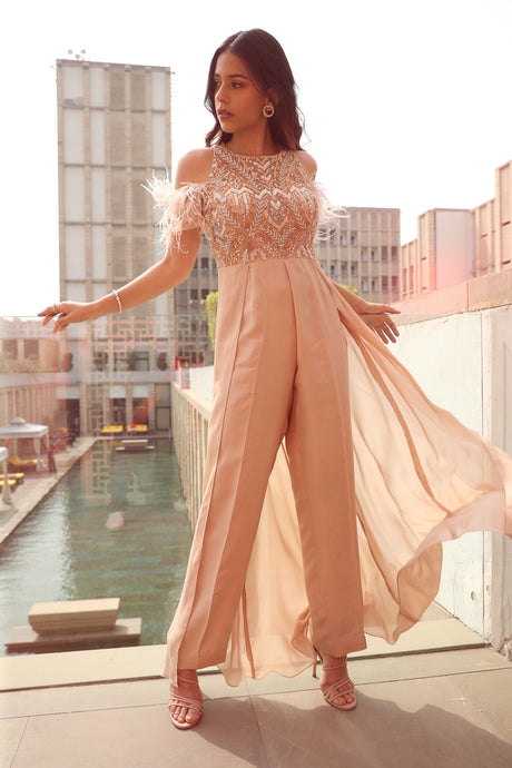 Peach Embroidered Cold Shoulder Jumpsuit