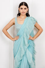 Load image into Gallery viewer, Pleated Draped Saree with Tasseled Blouse