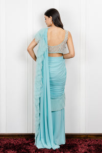Pleated Draped Saree with Tasseled Blouse