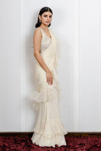 Load image into Gallery viewer, Ruffled Saree with floral embroidered blouse