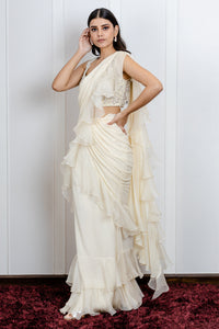 Ruffled Saree with floral embroidered blouse