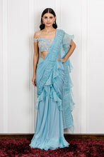 Load image into Gallery viewer, Organza Gathered Draped Saree with an Off Shoulder Crystal Blouse
