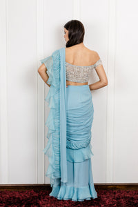 Organza Gathered Draped Saree with an Off Shoulder Crystal Blouse