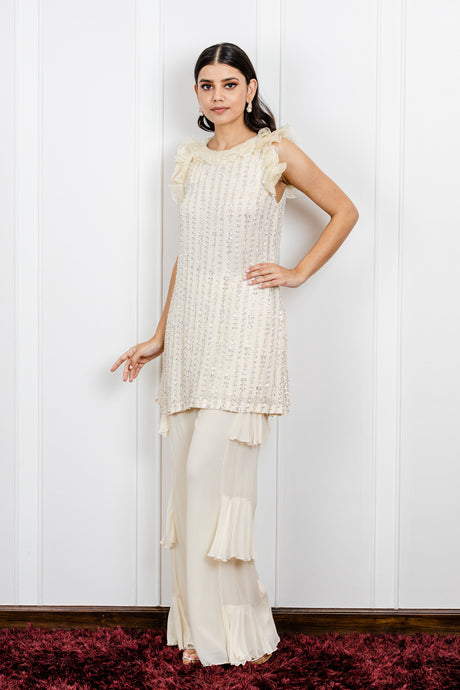 Embroidered Ruffled Top with Side Ruffled Pants