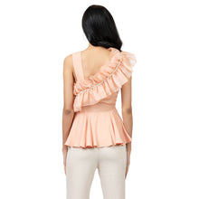 Load image into Gallery viewer, Pearl Embellished Side Ruffle Peplum