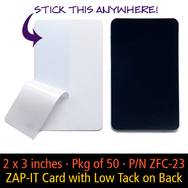 ZAP-IT Card with low tack adhesive backing