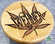 Load image into Gallery viewer, Laser Engraved Personalized Glass Herb Stash Jar, Custom Airtight Cannabis Storage Container, Marijuana Gift for Pot Smoker, Weed Accessory