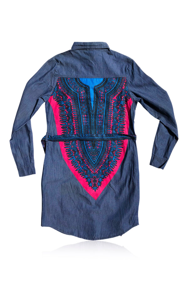 Banta Dashiki - Dark Denim Shirt Dress - Women's