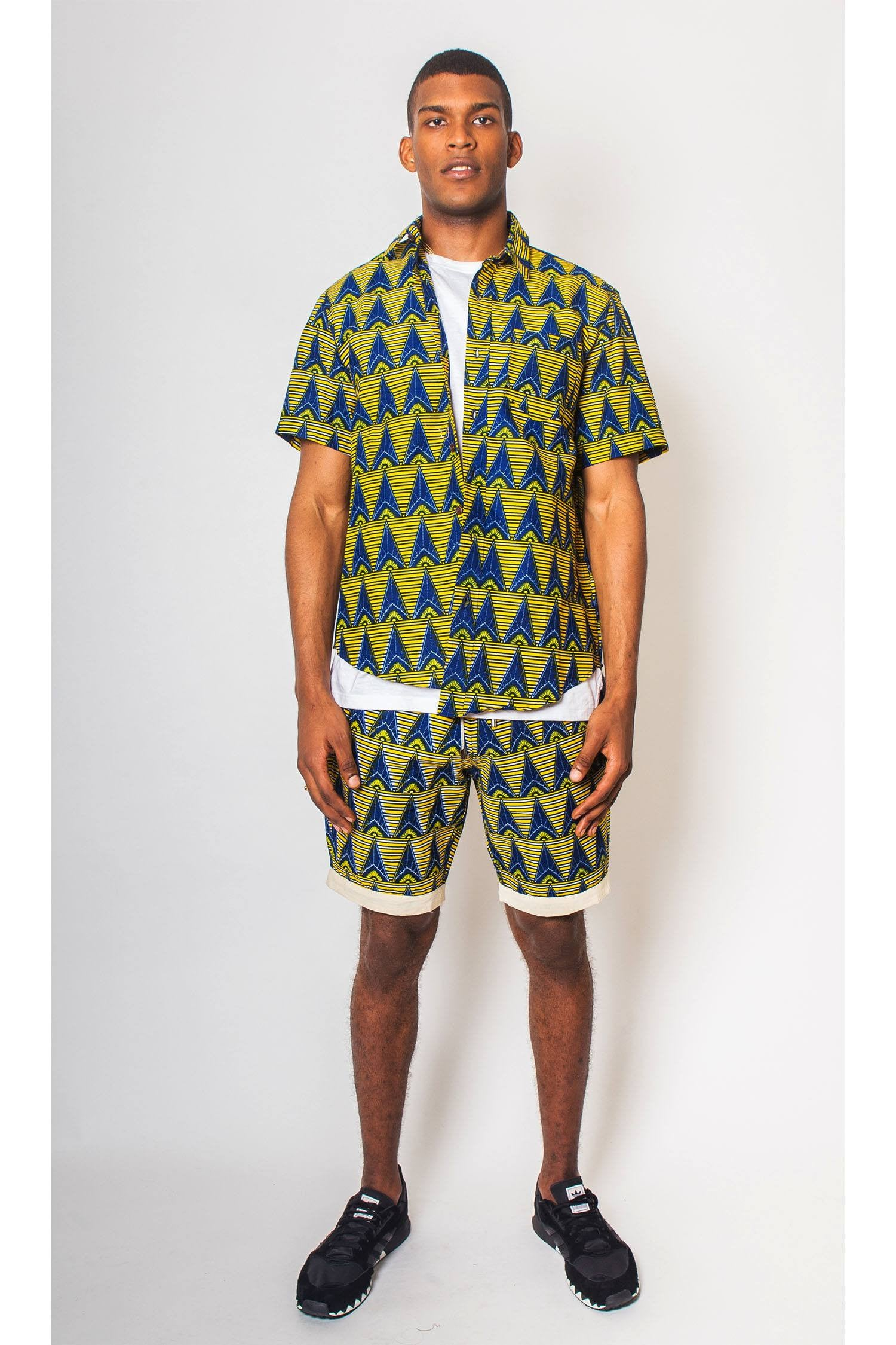 Mens Matching Print Shirt And Shorts
