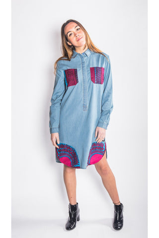 Banta Dashiki 2017 - Denim Shirt Dress - Women's
