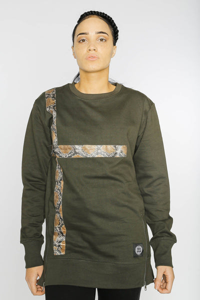 Gossas - Dark Green Longline Dashiki Sweatshirt - Women's