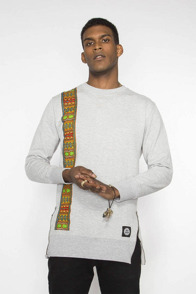 Matam - Grey Longline Dashiki Sweatshirt - Men's