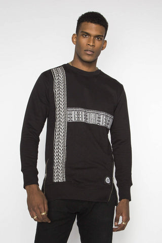 Bambey - Black Longline Dashiki Sweatshirt - Men's
