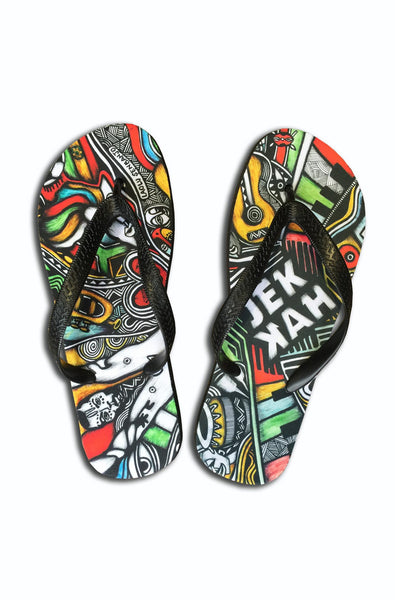 Colours of JEKKAH by Laolu Senbanjo - Flip Flops