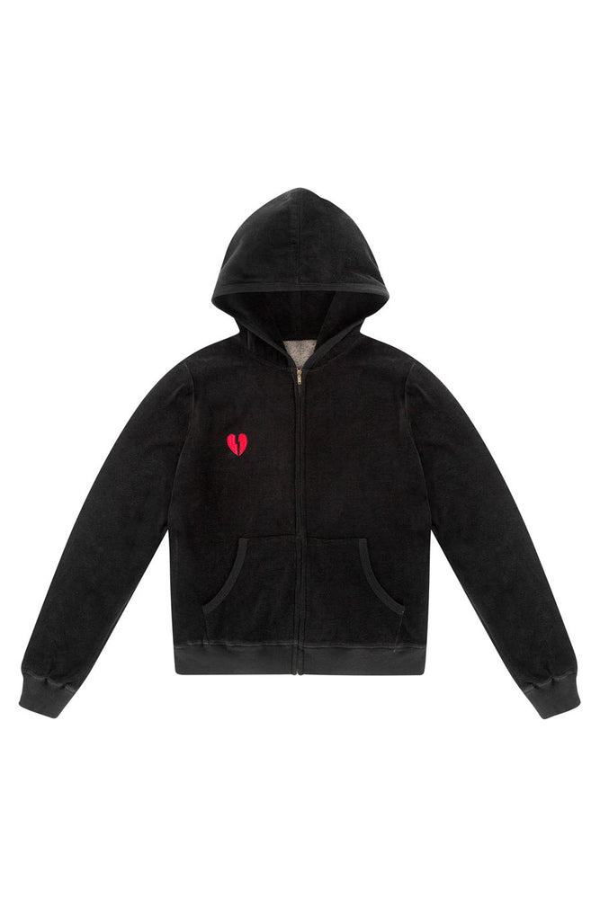 LDC VELOUR EMBROIDERED HOODIE- BLACK