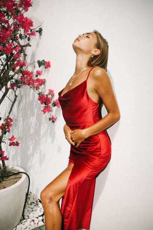 Siren Slip Dress - Ruby Velvet