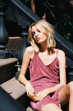 Sister Moon Velvet Slip Dress (Dusty Pink)