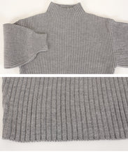 Load image into Gallery viewer, Bottleneck Rib Knit Pullover (aoxp0979)