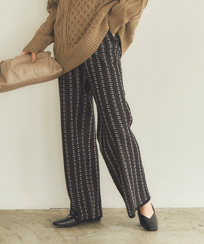 Geometric Jacquard Knit Pants (awjr0005)