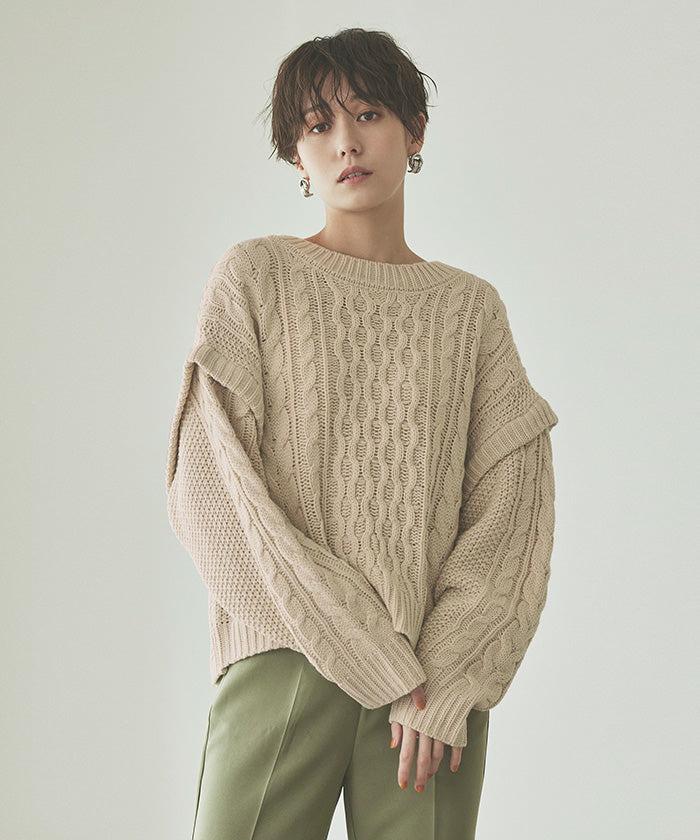 Layered Cable Knit Pullover (awjr5711)