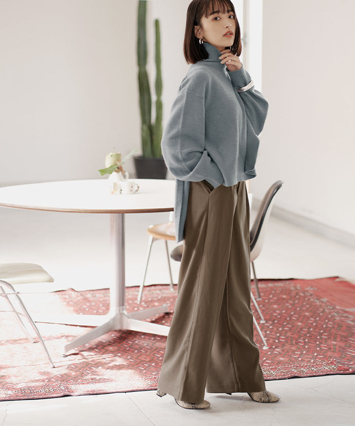 Wool-like Center Pre-Stack Wide Pants (awxp2732)