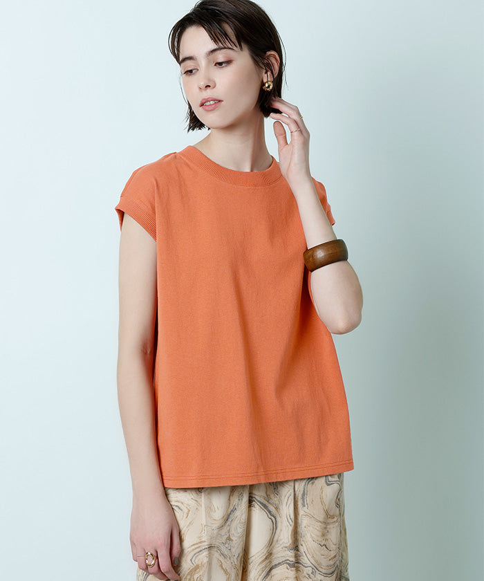 French sleeve cotton cut and sew  (axjn0434)