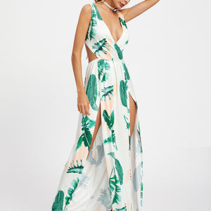 Open Back Leaf Print Maxi Dress - Joy's Beauty Store