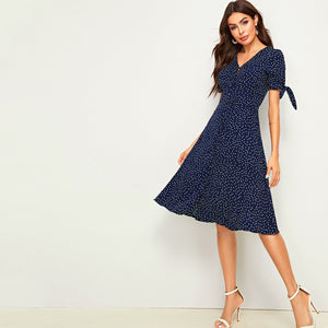 Allover Polka Dot Knot Cuff Dress - Joy's Beauty Store