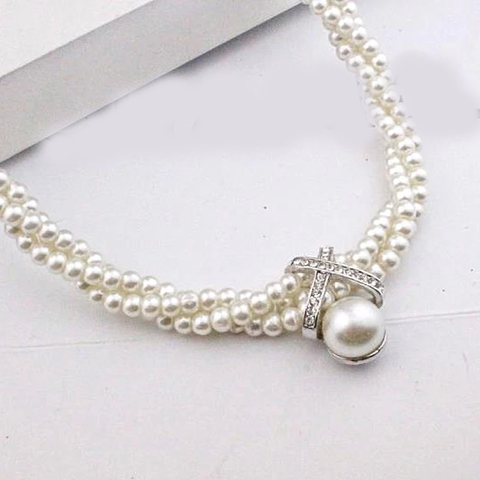 Romantic Multi-layer Pearl Beads Chain Necklace - Joy's Beauty Store