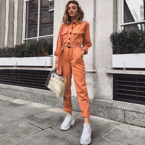 Casual Cargo Orange Jumpsuit - Joy's Beauty Store