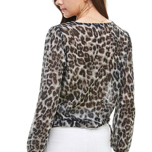 Leopard Print Wrap Blouse - Joy's Beauty Store