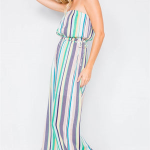 Green Multi Stripe Strapless Lightweight Wide Leg Jumpsuit - Joy's Beauty Store