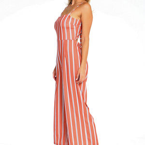 Women's Stripe Sleeveless Jumpsuit - Joy's Beauty Store