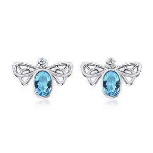 Bumble Bee Stud Earring in 18K White Gold Plated - Joy's Beauty Store
