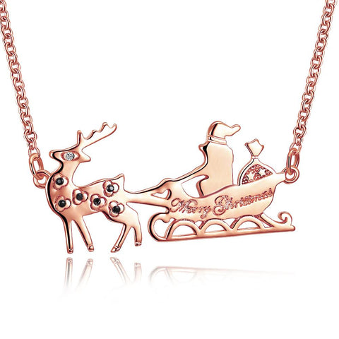 Santa Necklace in 18K Rose Gold Plated - Christmas Collection with - Joy's Beauty Store