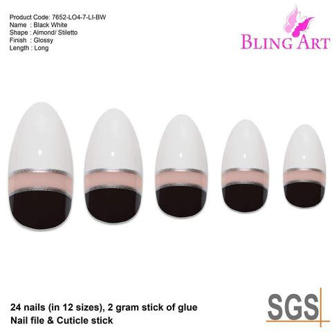 False Nails by Bling Art Black White Glossy Almond Stiletto Acrylic - Joy's Beauty Store
