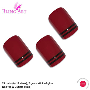 False Nails by Bling Art Red Black Glossy French - Joy's Beauty Store