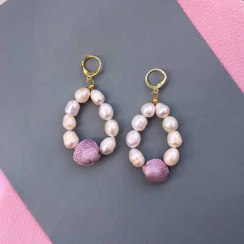 Candy Shell Pearl Earrings - Joy's Beauty Store