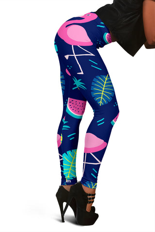 Women's Flamingo with Fruits Leggings - Joy's Beauty Store