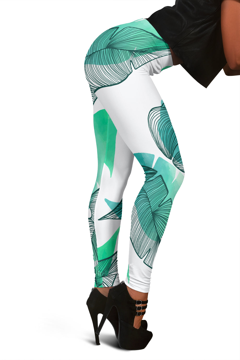 Women's Hand Drawn Leaves Leggings - Joy's Beauty Store