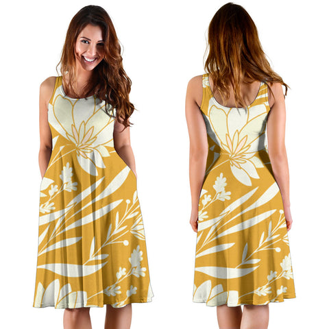 Women's Mustard Floral Dress - Joy's Beauty Store