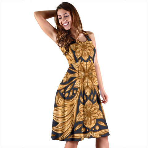 Women's Golden Ornamental Floral Dress - Joy's Beauty Store
