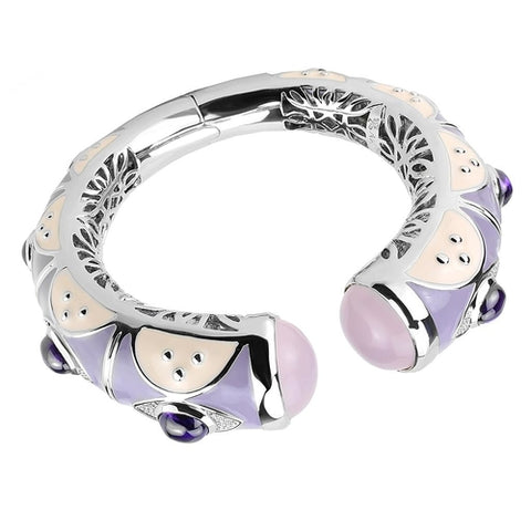 LO4268 Rhodium Brass Bangle with Synthetic in Rose - Joy's Beauty Store