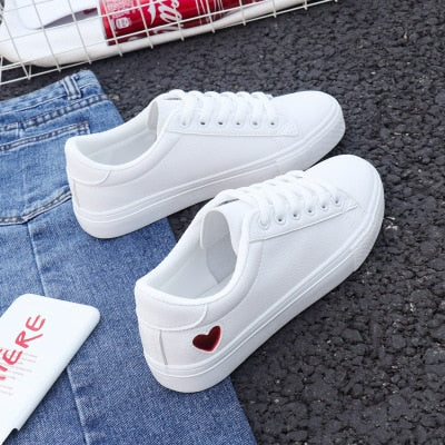 Cute Heart White Leather Sneakers - Joy's Beauty Store