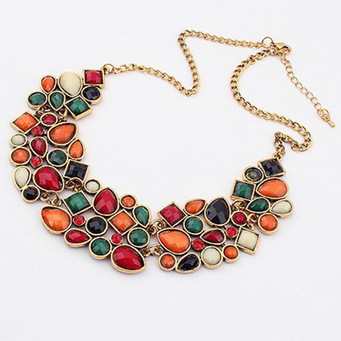 Multi-color Big Pendant Clavicle Chain Necklace - Joy's Beauty Store